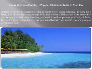 Spa & Wellness Holiday – Popular Choices in India to Visit O