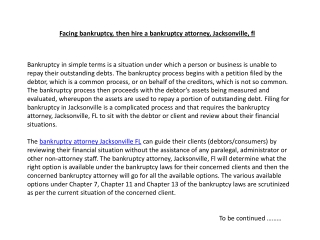 Facing bankruptcy, then hire a bankruptcy attorney, Jacksonv