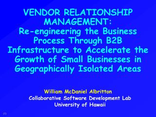 VENDOR RELATIONSHIP MANAGEMENT:
