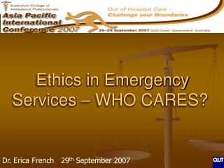 Ethics in Emergency Services