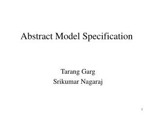Abstract Model Specification