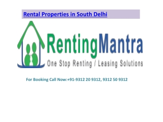 Rental Properties in South Delhi@9312 20 9312