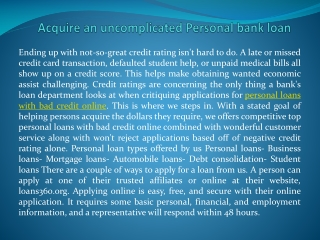 personal loans with bad credit online