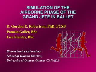 Simulation of the Airborne Phase of the Grand Jete in Ballet