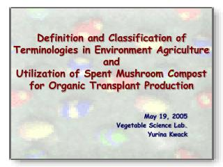 Definition and Classification of Terminologies in Environment Agriculture