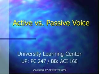 Active vs. Passive Voice