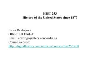 HIST 253 History of the United States since 1877
