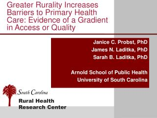 Greater Rurality Increases Barriers to Primary Health Care: Evidence of a Gradient in Access or Quality