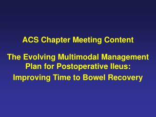 ACS Chapter Meeting Content