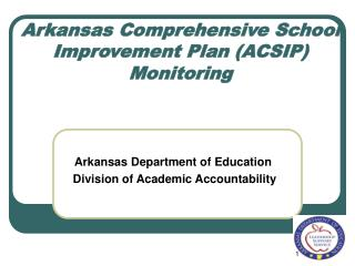 Arkansas Comprehensive School Improvement Plan ACSIP Monitoring