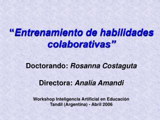 Entrenamiento de habilidades colaborativas   Doctorando: Rosanna Costaguta  Directora: Anal a Amandi  Workshop Intelig