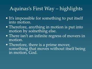 Aquinas s First Way   highlights