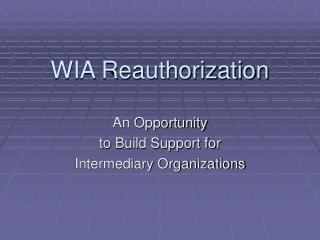 WIA Reauthorization