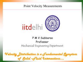 Point Velocity Measurements