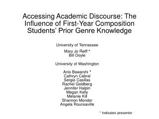 Accessing Academic Discourse: The Influence of First-Year Composition Students  Prior Genre Knowledge