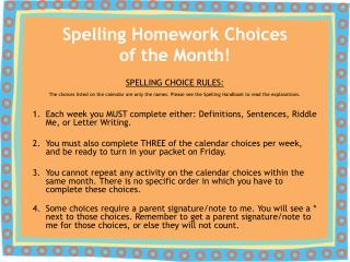 Spelling Homework Choices of the Month