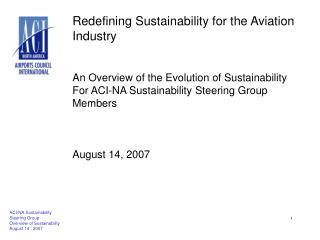 Redefining Sustainability for the Aviation Industry   An Overview of the Evolution of Sustainability For ACI-NA Sustaina