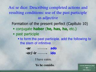 As  se dice: Describing completed actions and resulting conditions: use of the past participle as adjective