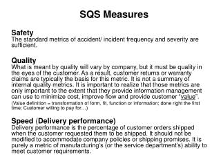 SQS Measures
