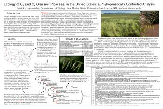 Ecology of C3 and C4 Grasses Poaceae in the United States: a Phylogenetically Controlled Analysis