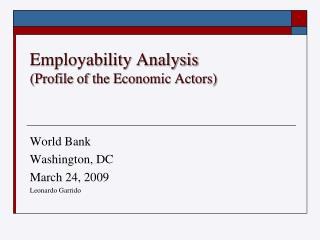 Employability Analysis Profile of the Economic Actors