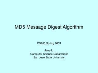 MD5 Message Digest Algorithm
