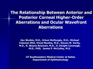 UT Southwestern Medical Center at Dallas Department of Ophthalmology