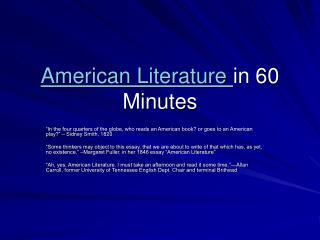 American Literature in 60 Minutes