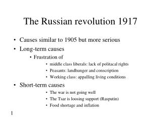 The Russian revolution 1917