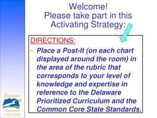 Welcome  Please take part in this Activating Strategy: