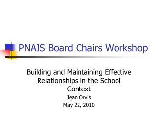 PNAIS Board Chairs Workshop