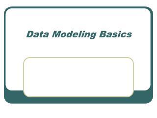 Data Modeling Basics