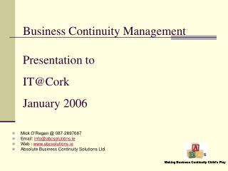Business Continuity Management Presentation to