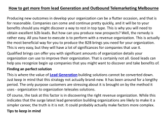How to get more from lead Generation and Outbound Telemarket