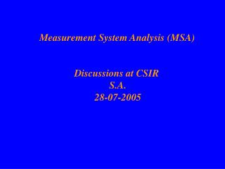 Measurement System Analysis MSA
