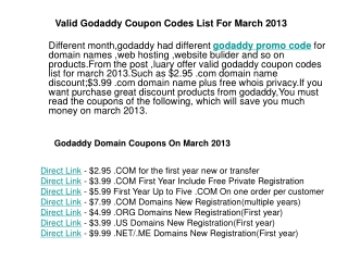 Godaddy Coupon Codes List March 2013