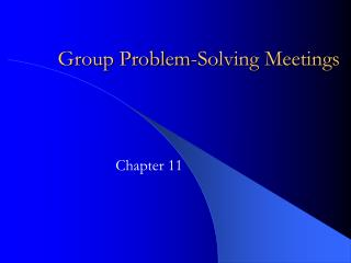 Group Problem-Solving Meetings