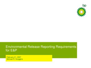Environmental Release Reporting Requirements for EP