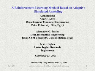 A Reinforcement Learning Method Based on Adaptive Simulated Annealing