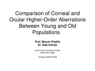Comparison of Corneal and Ocular Higher-Order Aberrations Between Young and Old Populations