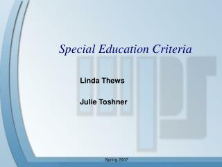 Special Education Criteria