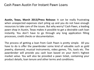 Cash Pawn Austin For Instant Pawn Loans
