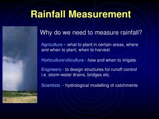 Rainfall Measurement