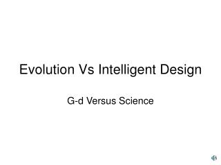 Evolution Vs Intelligent Design