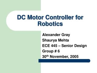 DC Motor Controller for Robotics
