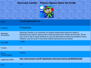 Astronaut Catcher  - Physics Space Game for Kindle