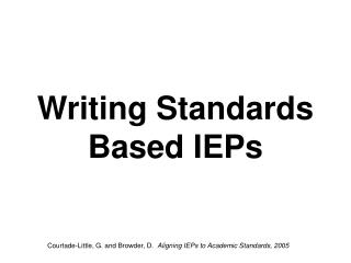 Writing Standards Based IEPs
