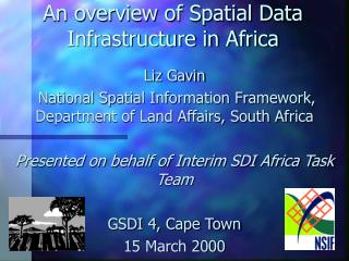 An overview of Spatial Data Infrastructure in Africa