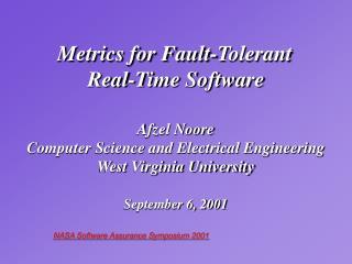 NASA Software Assurance Symposium 2001