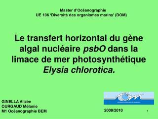 Le transfert horizontal du g ne algal nucl aire psbO dans la limace de mer photosynth tique Elysia chlorotica.